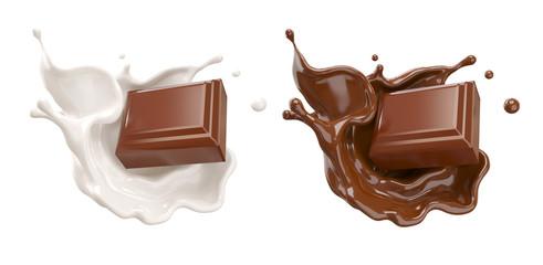 komadići čokolade koji padaju na čokoladni umak i ilustracija prskanja mliječne kreme 3d.