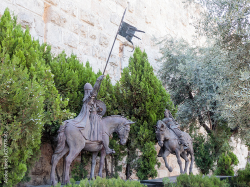 Poster Artistiek mon. Statue with two knights in the old city in Jerusalem near the Jaffa Gate