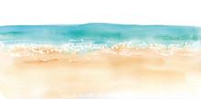 砂浜と水平線の水彩イ...