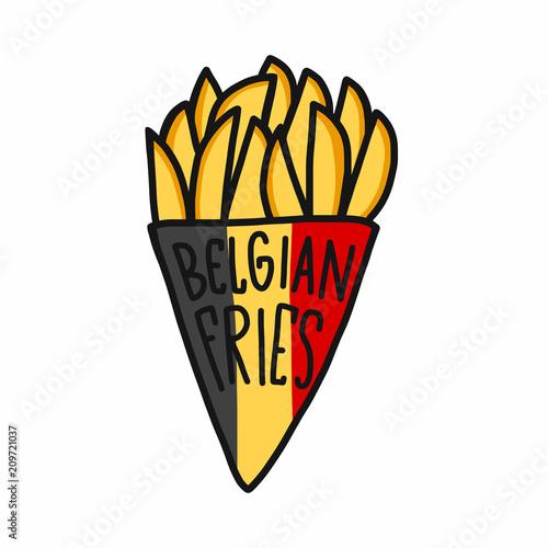 Fotografía  Belgian fries cartoon vector illustration