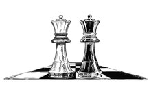 Vector Artistic Pen And Ink Drawing Illustration Of Two Chess Kings, Black And White, Facing Each Other. Business Concept Of Competition And Decision.