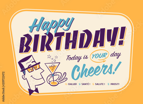 Vintage Style Happy Birthday Card - Cheers! Canvas Print