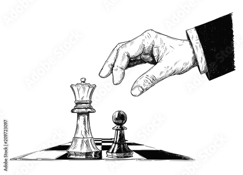 Obraz na plátně Vector artistic pen and ink drawing illustration of chess king and pawn facing each other
