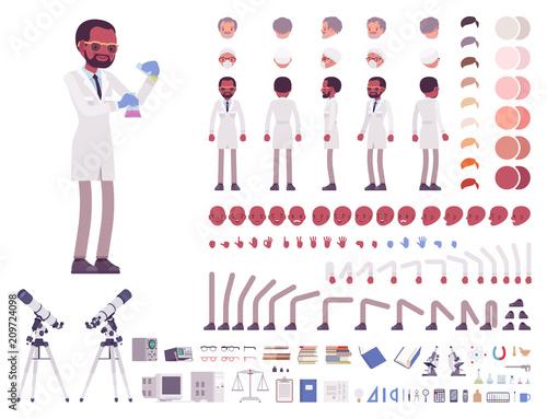 Vászonkép Male scientist character creation set