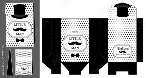 photo about Mustache Pattern Printable called Black hat, mustache and bow tie. Printable template for