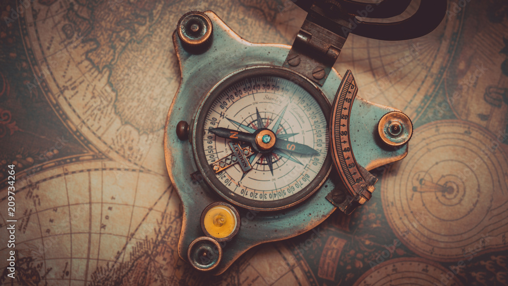 Fototapety, obrazy: Nautical Compass On World Map