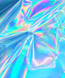 canvas print picture - Holographic neon color iridescent wrinkled foil surface.