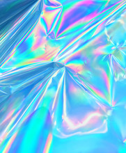 Holographic Neon Color Iridescent Wrinkled Foil Surface.