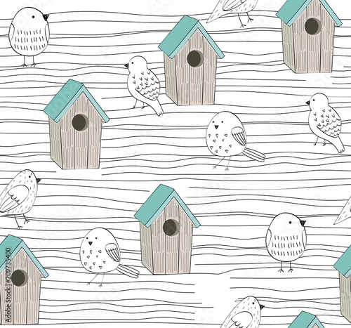 Vector seamless background with birdhouse and birds Canvas Print