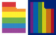 Dotted LGBT Utah State map versions. Vector geographic maps in rainbow colors with vertical and horizontal directions on white and blue backgrounds.
