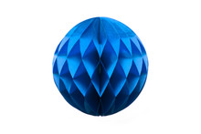 Blue Honeycomb Paper Ball Decoration Isolated On White Background