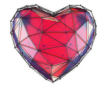 Heart Made In Low Poly Style Red Color Isolated On White Background. 3d