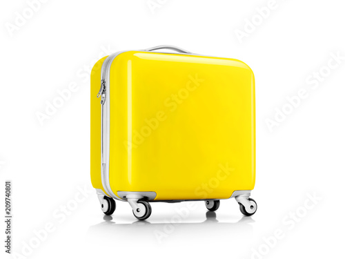 Fototapeta Yellow suitcase or luggage for traveler