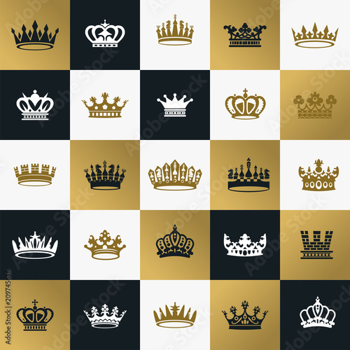 King and queen crowns symbols Tableau sur Toile