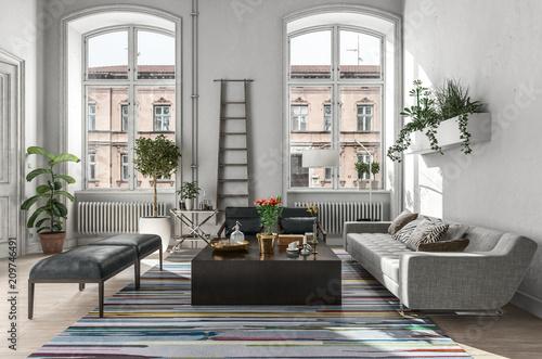 Fotografija Modern rustic living room interior. 3d Rendering