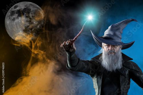 Fotografia 3D Illustration of an elderly the wizard