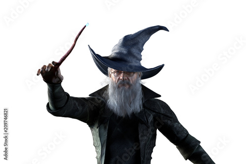 Photo 3D Illustration of an elderly the wizard