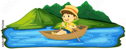 Deurstickers Kids A Boy Paddling Boat