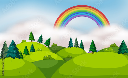 Keuken foto achterwand Lime groen A Beautiful Mountain Landscape and Rainbow