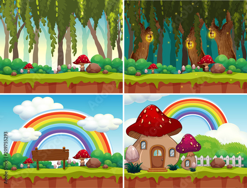 In de dag Kids A Set of Mushroom Landscape
