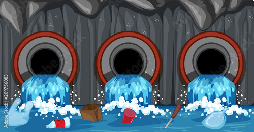 In de dag Kids Sewer Pipe System From Household