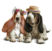 Bassethounds On A Walk Watercolor Drawing
