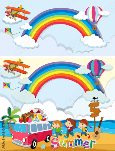 Deurstickers Kids Kids on Summer Holiday Template