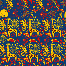 Seamless Vector Background With Cartoon Elephant, Lizard, Giraffe And Other Elements.