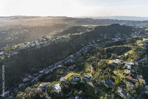 Zdjęcie XXL Widok z lotu ptaka Południowy Beverly Park jar i szczyt stwarzamy ognisko domowe w Snata Monica górach nad Beverly Hills i Los Angeles, Kalifornia.
