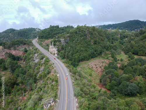 Staande foto Khaki Aerial view of highway and natural landscape