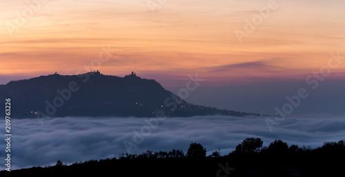 San Marino over the fog