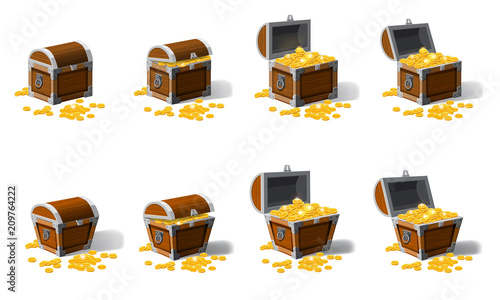 Set old pirate chests full of treasures, gold coins, vector, cartoon style, illustration, isolated Canvas Print