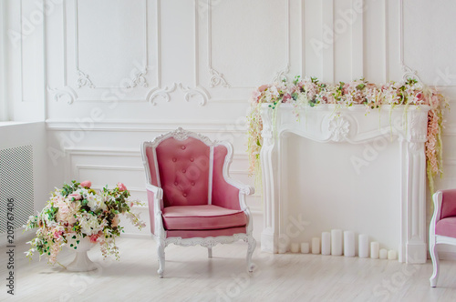 Fényképezés  Stylish design of the living room in light colors.