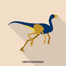 Ornithomimus Icon. Flat Illust...