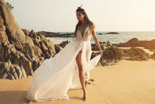 Young And Beautiful Bride On The Beach