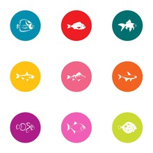 Minnow Icons Set. Flat Set Of 9 Minnow Vector Icons For Web Isolated On White Background