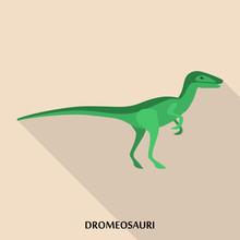 Dromeosauri Icon. Flat Illustr...