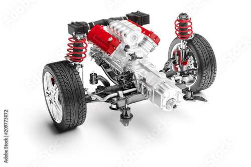 Fotografia 3d car chassis with motor, wheels and suspension, on white background