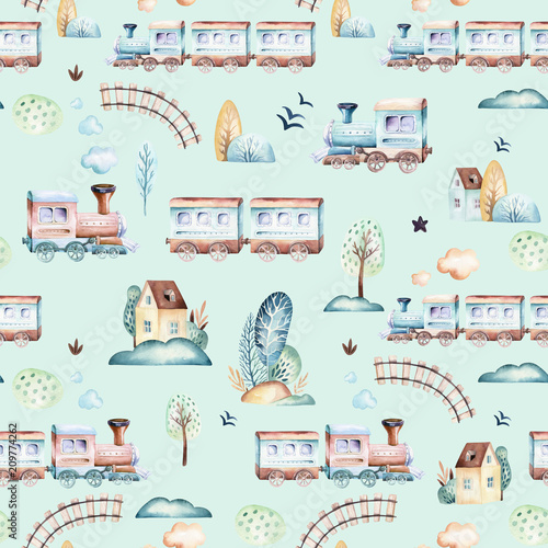 swiat-chlopcow-kreskowka-samolotu-samolotu-i-wagonu-akwarela-lokomotywy-ilustracja-wzor-dziecko-zabawki-urodziny-backgraund-transport-elementow-bez-szwu-wzorow