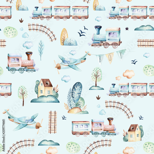baby-boys-world-cartoon-airplane-plane-and-waggon-locomotive-watercolor-illustration-pattern-child-toys-birthday-backgraund-transport-elements-seamless-patterns
