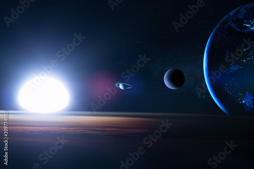 Earth In The Outer Space With Beautiful Planet Blue Sunrise Elements Of This Image