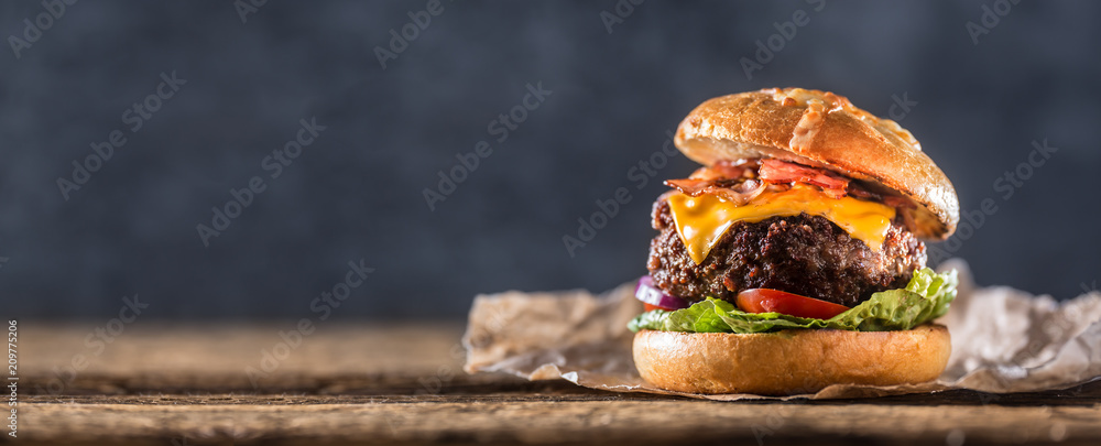 Fototapety, obrazy: Close-up home made beef burger on wooden table