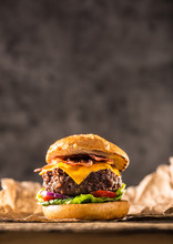 Close-up Home Made Beef Burger On Wooden Table
