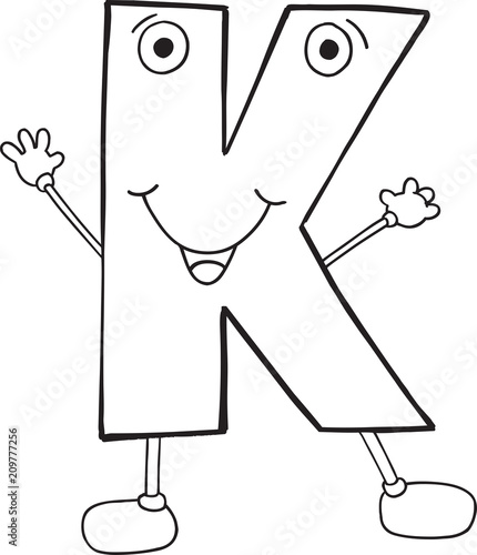 Cute Happy Letter K Vector Illustration Art