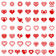 Heart form logo types icons set. Simple illustration of 50 heart form logo types vector icons for web