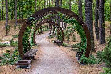 FototapetaWooden arches with benches in the city park of rest