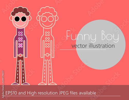 Foto op Canvas Abstractie Art Funny boy vector illustration