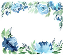 Flowers Watercolor Frame, Isol...
