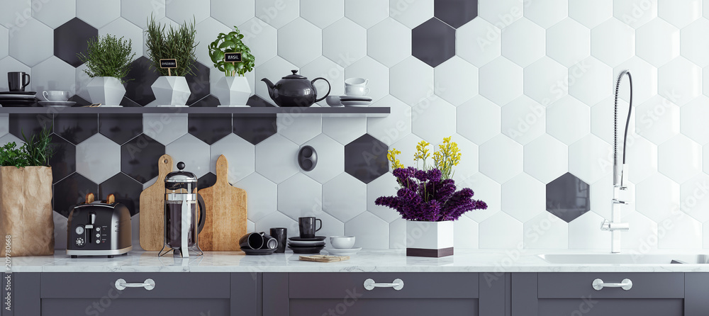 Fototapeta Panoramic modern kitchen interior background, 3d render