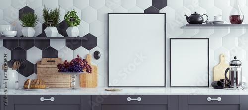 Obraz Mock up poster frames in kitchen interior,  panoramic background, 3d render - fototapety do salonu